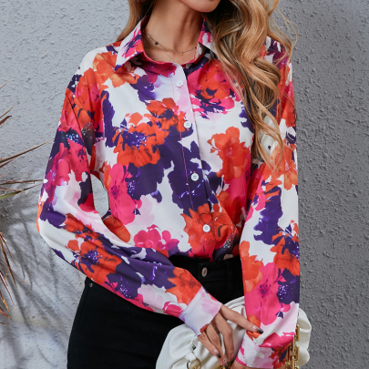 Autumn And Winter Women's Red Flower Printing Shirt Nihaostyles Wholesale Clothing NSYID79337