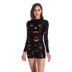 women's Halloween 3D Horror Pumpkin Digital Print Long Sleeve Dress nihaostyles wholesale halloween costumes NSNDB78850
