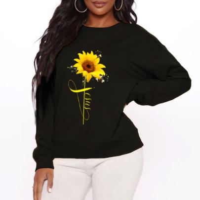 Sunflower Printed Round Neck Plus Cashmere Sweater Nihaostyles Clothing Wholesale NSYAY79666