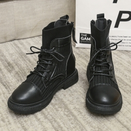 Low-heel Lace-up Boots Nihaostyles Clothing Wholesale NSYUS79665