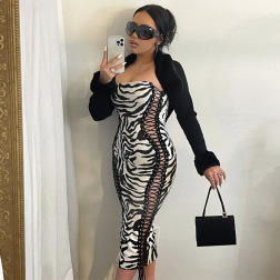 women's zebra print strappy off-shoulder dress nihaostyles clothing wholesale NSLJ79375