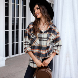 Autumn And Winter Women's Printed Casual Long-sleeved Plaid Shirt Cardigan Nihaostyles Wholesale Clothing  NSSI79381