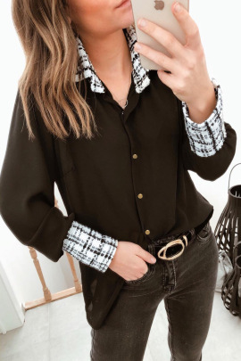 Autumn And Winter Women's Long-sleeved Lapel Stitching Breasted Plaid Blouse Nihaostyles Wholesale Clothing NSSI79385