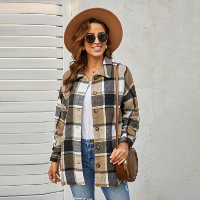 Autumn And Winterwomen's Long-sleeved Lapel Buttoned Plaid Jacket Nihaostyles Wholesale Clothing NSSI79387