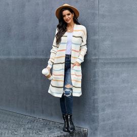 Women's Autumn Stitching Imitation Cashmere Long Knitted Cardigan Jacket Nihaostyles Wholesale Clothing NSSI79393