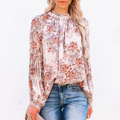 Women's Autumn Floral Half High Collar Lantern Sleeve Chiffon Shirt Nihaostyles Wholesale Clothing NSSI79394