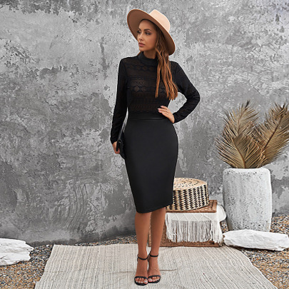 Autumn And Winter Women's Lace Semi-high Collar Package Hip Dress Nihaostyles Wholesale Clothing NSSI79398