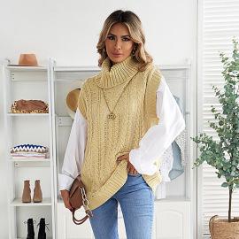 Women's High Neck Warm Sleeveless Pullover Sweater Waistcoat Nihaostyles Wholesale Clothing NSSI79400