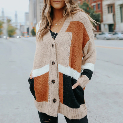 Autumn Women's V-neck Single-breasted With Pockets Mid-length Knitted Sweater Coat Nihaostyles Wholesale Clothing NSSI79401