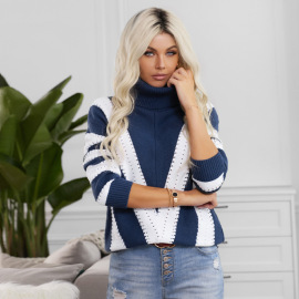 Autumn And Winter Women's Contrast Color High-neck Long-sleeved Casual Sweater Nihaostyles Wholesale Clothing NSSI79402