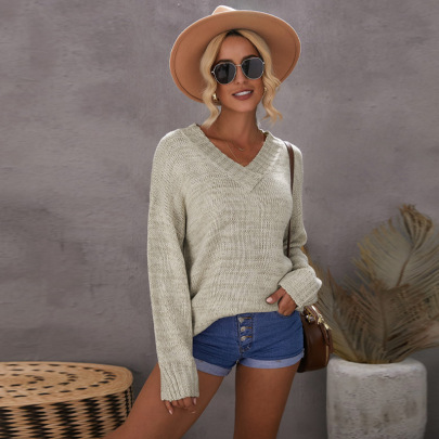 Autumn And Winter Women's V-neck Solid Color Long-sleeved Knitted Sweater Nihaostyles Wholesale Clothing NSSI79403