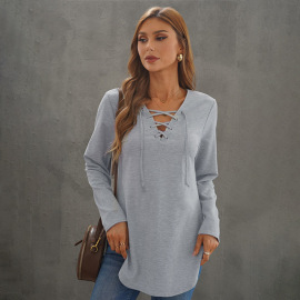 Autumn Women's V-neck Solid Color Cross Straps Sweatershirt Nihaostyles Wholesale Clothing NSSI79405
