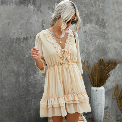 Summer Women's V-neck Pure Color Lace Stitching Chiffon Skirt Nihaostyles Wholesale Clothing NSSI79407