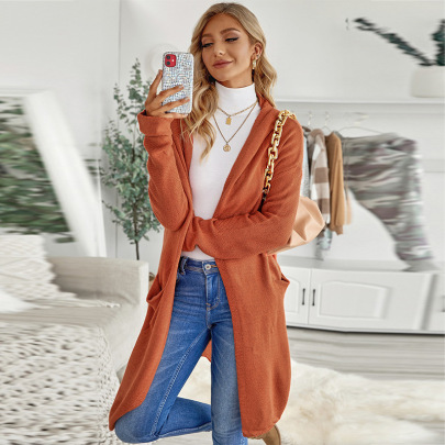Autumn And Winter Women's Solid Color Long Hooded Knitted Sweater Cardigan Coat Nihaostyles Wholesale Clothing NSSI79408