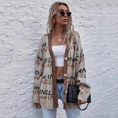 Women's Letters Jacquard Mid-length Sweater Knit Cardigan Nihaostyles Wholesale Clothing NSDMB79411