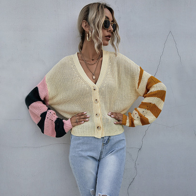 Women's Casual Knitted Striped Sweater Cardigan Nihaostyles Wholesale Clothing NSDMB79415