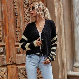 Women's Striped V-neck Color-block Knit Short Sweater Cardigan Nihaostyles Wholesale Clothing NSDMB79414