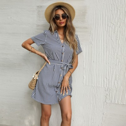 Women's Belted Vertical Striped Lapel Shirt Dress Nihaostyles Wholesale Clothing NSDMB79416