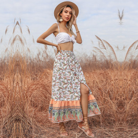 Women's Floral A-line Ethnic Print Slit  Mid-length Skirt Nihaostyles Wholesale Clothing NSDMB79418
