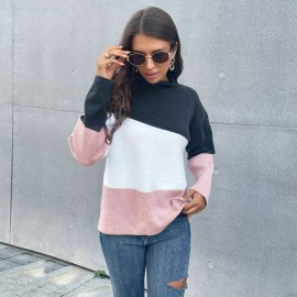 Women's Knitted Color Matching Half High Neck Long-sleeved Sweater Nihaostyles Wholesale Clothing NSDMB79422