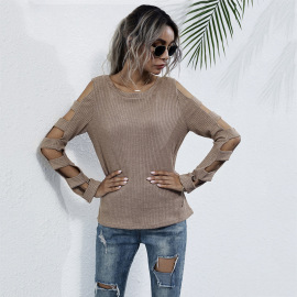 Women's Hollow Long-sleeved Bottoming Slim-fit Knitted Sweater Nihaostyles Wholesale Clothing NSDMB79423