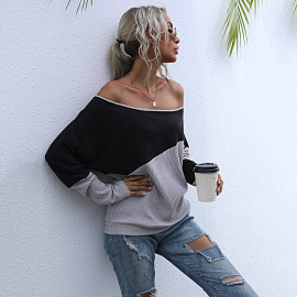 Women's Contrast Color Long-sleeved Off Collar Sweater Nihaostyles Wholesale Clothing NSDMB79424