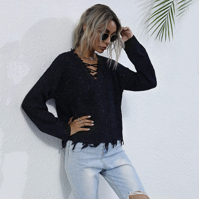 Women's V-neck Color Striped Distress Pullover Sweater Nihaostyles Wholesale Clothing NSDMB79426