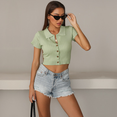 Women's Solid Color Lapel Knitted Bottoming Short Shirt Nihaostyles Wholesale Clothing NSDMB79429
