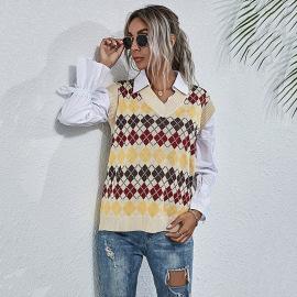Women's Apricot V-neck Diamond Contrasting Sweater Vest Nihaostyles Wholesale Clothing NSDMB79430