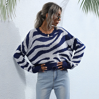 Women's Round Neck Knitted Blue Striped Loose Ripped Sweater Nihaostyles Wholesale Clothing NSDMB79432