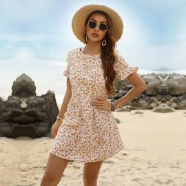 Women's Small Floral Beach Ruffle Short Dress Nihaostyles Wholesale Clothing NSDMB79437