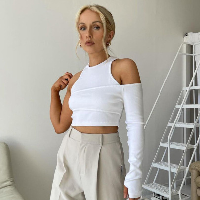 Women's Solid Color Vest And Single Sleeve Two-piece Set Nihaostyles Clothing Wholesale NSHLJ79445