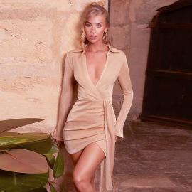 Women's Solid Color Lapel Long-sleeved Slim Dress Nihaostyles Clothing Wholesale NSHLJ79447