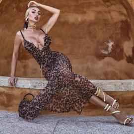 Women's Low-cut Lace-up Leopard-print Mesh Dress Nihaostyles Clothing Wholesale NSHLJ79449