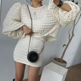 Women's Puff Sleeved Lace-up Top Nihaostyles Clothing Wholesale NSHLJ79452
