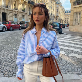Women's Long-sleeved Striped Lapel Shirt Nihaostyles Clothing Wholesale NSHLJ79455