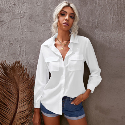 Autumn And Winter Women's Solid Color Single-breasted Long-sleeved  Shirt With Pockets Nihaostyles Wholesale Clothing NSSI79460