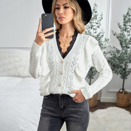 Women's  V-neck  Single-breasted Ruffle Stitching Knitted Sweater Nihaostyles Wholesale Clothing NSSI79461