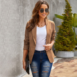Autumn And Winter Women's Solid Color Pocket Fold Stitching One-button Suit Coat Nihaostyles Wholesale Clothing NSSI79463