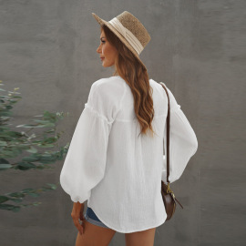 Autumn Women's Shirt V-neck Solid Color Stitching Lantern Sleeves Buttoned Top Nihaostyles Wholesale Clothing NSSI79466