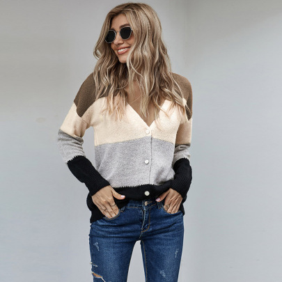 Autumn And Winter Women's V-neck Striped Stitching Single-breasted Knitted Sweater Top Nihaostyles Wholesale Clothing NSSI79467