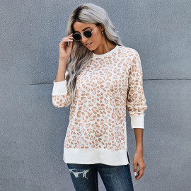 Women's Round Neck Printed Side Slit Casual Long Sleeve Sweatshirt Nihaostyles Wholesale Clothing NSSI79468