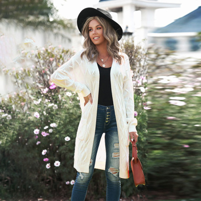 Autumn And Winter Women's Pure Color Twist Long Knitted Sweater Cardigan Nihaostyles Wholesale Clothing NSSI79471