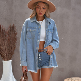 Women's Solid Color Breasted Denim Jacket Nihaostyles Wholesale Clothing NSSI79472