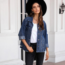 Autumn And Winter Women's Breasted Washed Denim Jacket Nihaostyles Wholesale Clothing NSSI79479