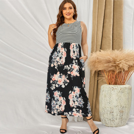 Plus Size Summer Women's Round Neck Print High Waist Sleeveless Long Floral Dress Nihaostyles Wholesale Clothing NSSI79481