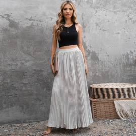 Women's High Waist Solid Color Pleated Skirt Nihaostyles Wholesale Clothing NSSI79482