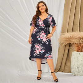 Plus Size Summer Women's Receiving Waist Mid-length Floral Skirt Nihaostyles Wholesale Clothing NSSI79485