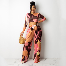 women's long-sleeved top with bell bottoms digital printing two-piece suit nihaostyles clothing wholesale NSOSD79488