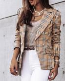 Women's Long-sleeved Double-breasted Plaid Printed Blazer Nihaostyles Clothing Wholesale NSYF79509